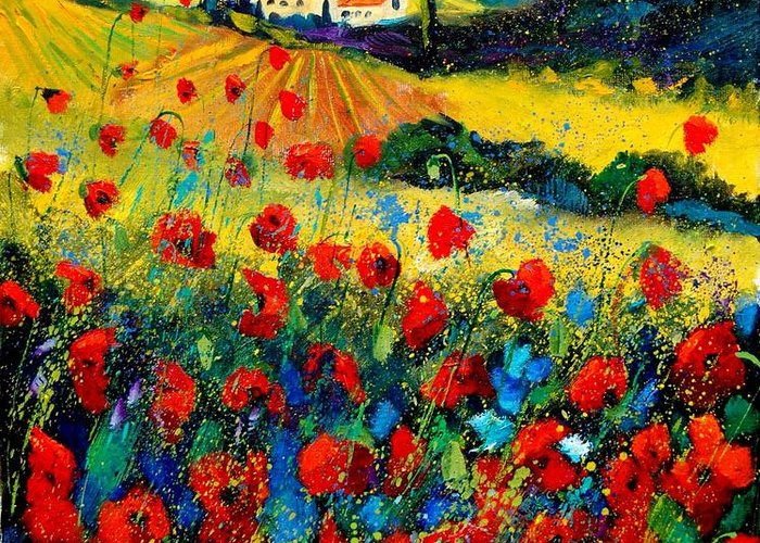 Flowersn Landscape Greeting Card featuring the painting Poppies in Tuscany by Pol Ledent