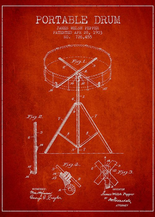 Drum Greeting Card featuring the drawing Portable Drum Patent Drawing From 1903 - Red by Aged Pixel