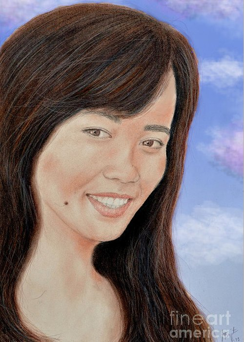 Beauty Greeting Card featuring the drawing Portrait Of A Filipina Beauty by Jim Fitzpatrick