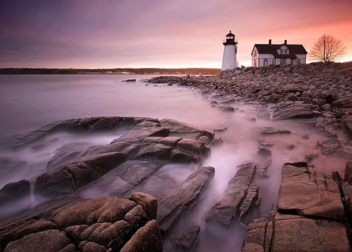 Maine Greeting Card featuring the photograph Prospect Harbor Light by Patrick Downey