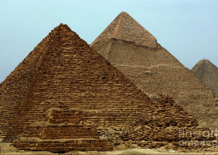 Pyramids Greeting Card featuring the photograph Pyramids At Giza by Bob Christopher