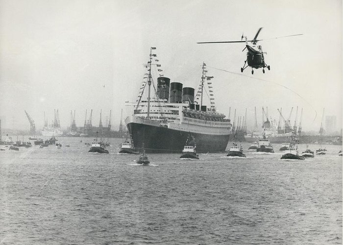retro Images Archive Greeting Card featuring the photograph Queen Mary Leaves Southampton On Last Voyage by Retro Images Archive