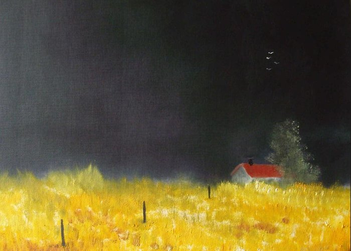 Corn Field Greeting Card featuring the painting Red Barn by Andy Davis