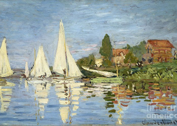 Claude Greeting Card featuring the painting Regattas At Argenteuil by Claude Monet