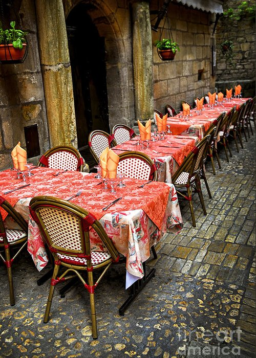 Restaurant Greeting Card featuring the photograph Restaurant Patio In France by Elena Elisseeva