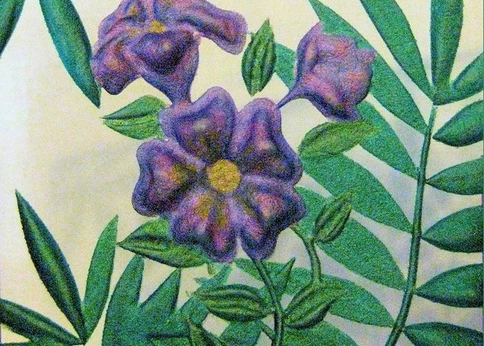 Purple Glass Carved Flowers Greeting Cards