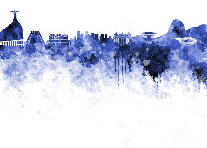 Watercolor; Background; Abstract; Paint; Color; Splash; Colorful; Art; Texture; Grunge; Paper; Ink; Illustration; Wallpaper; Bright; Vintage; Splatter; Creativity; Brazil; Rio De Janeiro; Southamerica; Architecture; Cityscape; Landmark; Monuments; Panoramic; Skyline Greeting Card featuring the painting Rio De Janeiro Skyline In Watercolor On White Background by Pablo Romero