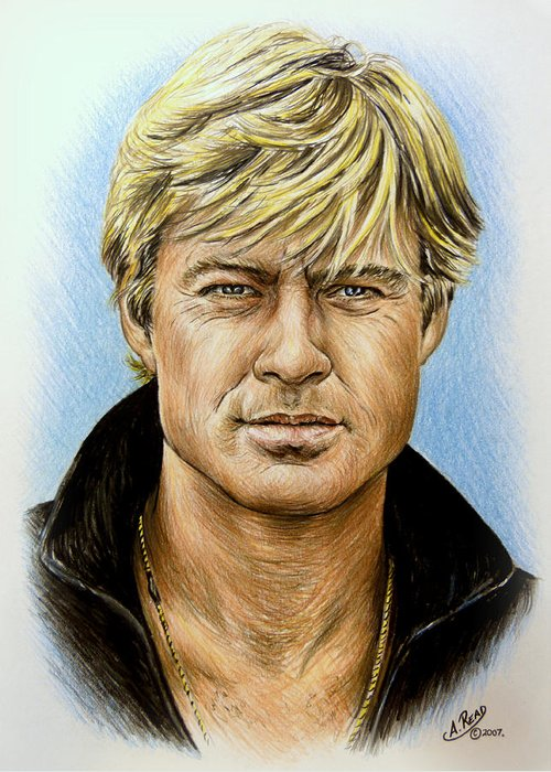 Robert Redford Greeting Card featuring the drawing Robert Redford by Andrew Read