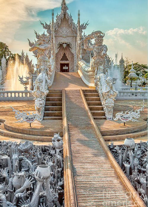 Abstract Greeting Card featuring the photograph Rong Khun Temple by Adrian Evans