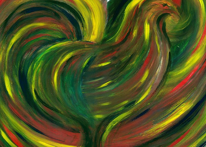 Colorfull Greeting Card featuring the painting Rooster by Fanny Diaz