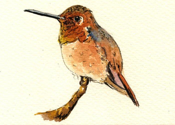 Rufous Hummingbird Greeting Card featuring the painting Rufous Hummingbird by Juan Bosco
