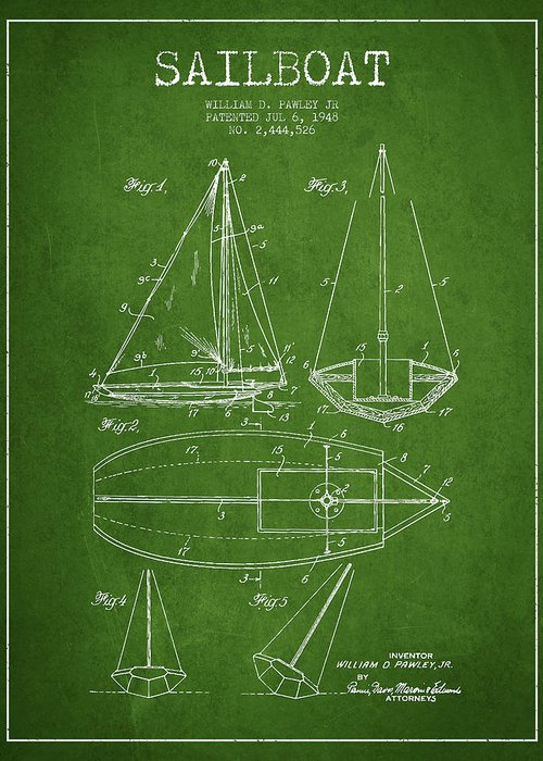 Sailboat Greeting Card featuring the digital art Sailboat Patent Drawing From 1948 by Aged Pixel