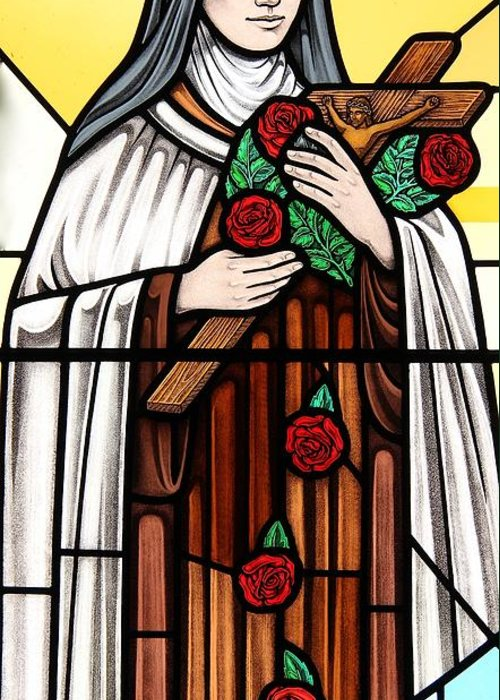 Stained Glass Greeting Card featuring the glass art Saint Therese Of Lisieux by Gilroy Stained Glass