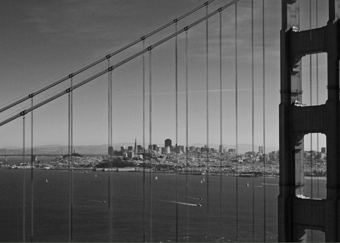 San Francisco Greeting Card featuring the photograph San Francisco Through Golden Gate Bridge by Twenty Two North Photography