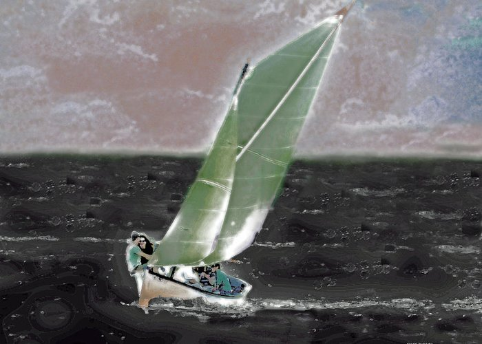 Landscape Greeting Card featuring the digital art Sea Breeze by Chick Phillips