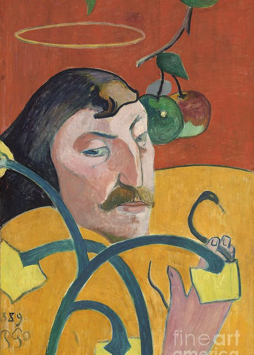Self; Portrait; Artist; Halo; Post; Impressionist; Expressionism; Expressionist Greeting Card featuring the painting Self Portrait by Paul Gauguin