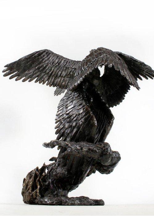 Bronze Greeting Card featuring the sculpture Seraph Angel A Religious Bronze Sculpture By Adam Long by Adam Long