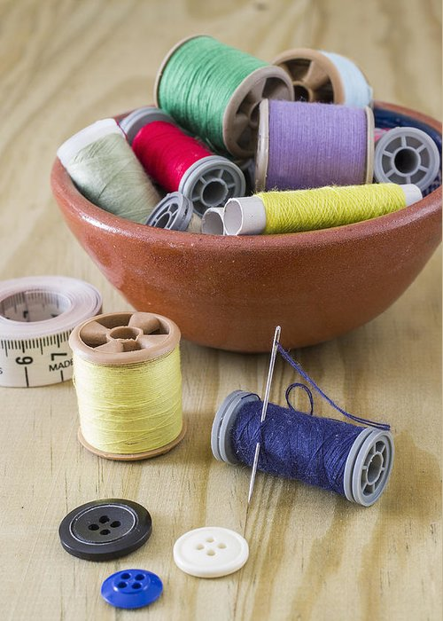 Sewing Greeting Card featuring the photograph Sewing Supplies by Paulo Goncalves
