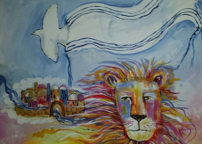 Israel Greeting Card featuring the painting Shalom by Paula Stacy Adams