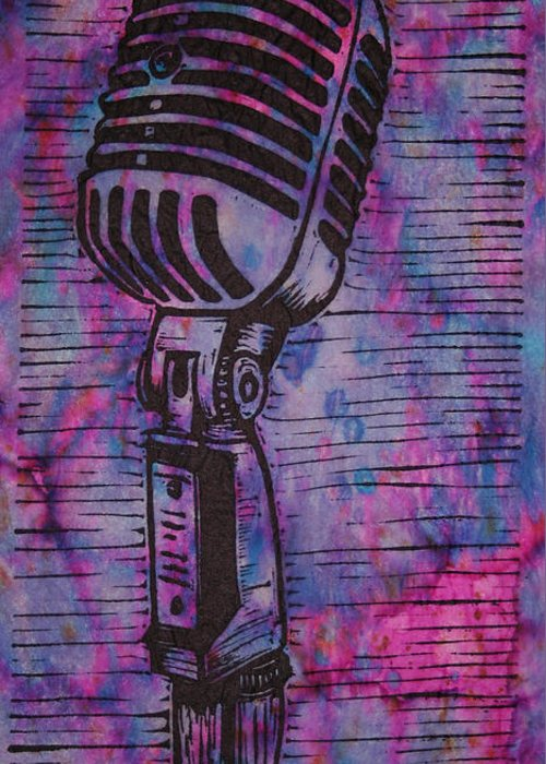 Mic Greeting Card featuring the drawing Shure 55s by William Cauthern