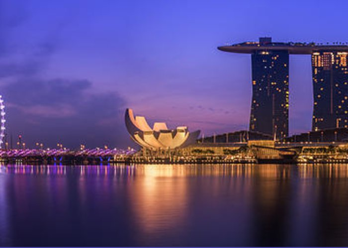 View Greeting Card featuring the photograph Singapore City by Anek Suwannaphoom