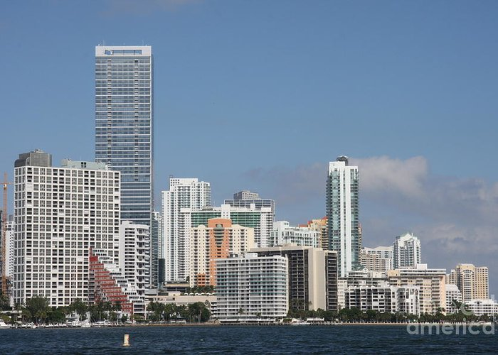 Miami Greeting Card featuring the photograph Skyline Miami by Christiane Schulze Art And Photography