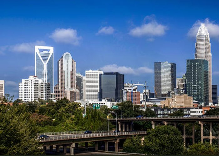 North Greeting Card featuring the photograph Skyline Of Uptown Charlotte North Carolina. by Alex Grichenko