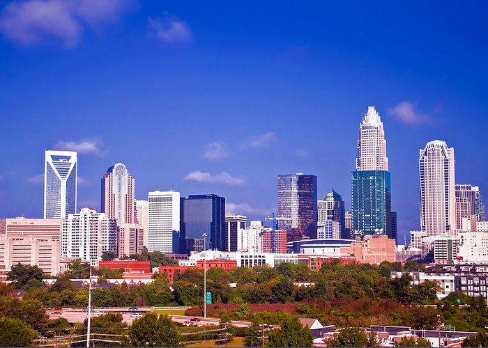 North Greeting Card featuring the photograph Skyline Of Uptown Charlotte North Carolina At Night by Alex Grichenko