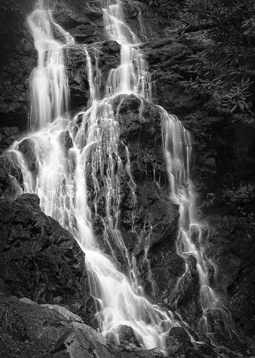 Vertical Greeting Card featuring the photograph Smokey Waterfall by Jon Glaser