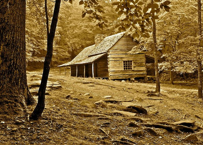Smoky Greeting Card featuring the photograph Smoky Mountain Cabin by Frozen in Time Fine Art Photography