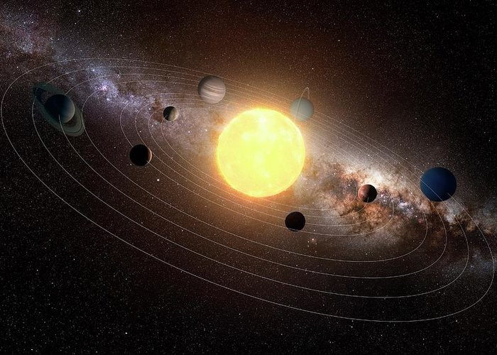 Black Background Greeting Card featuring the digital art Solar System, Artwork by Sciepro