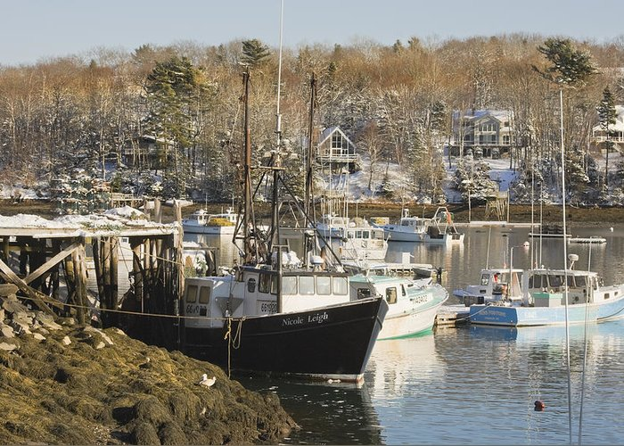 Maine Greeting Card featuring the photograph South Bristol And Fishing Boats On The Coast Of Maine by Keith Webber Jr