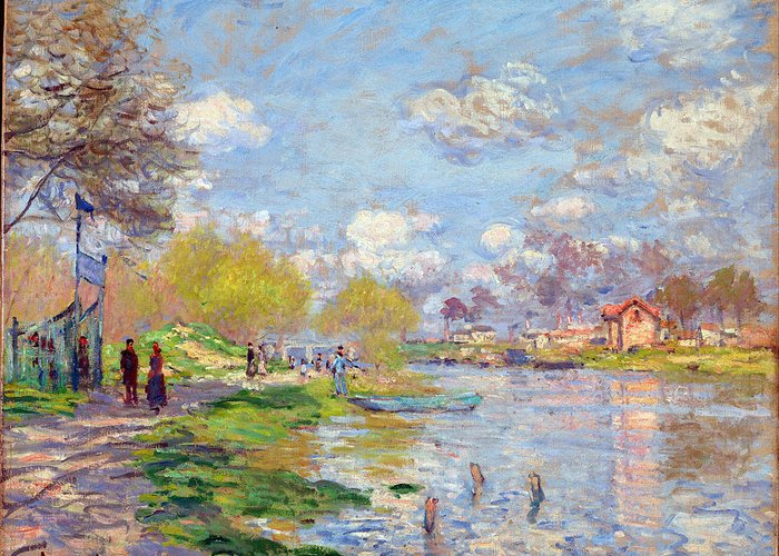 Claude Monet Greeting Card featuring the painting Spring By The Seine by Claude Monet