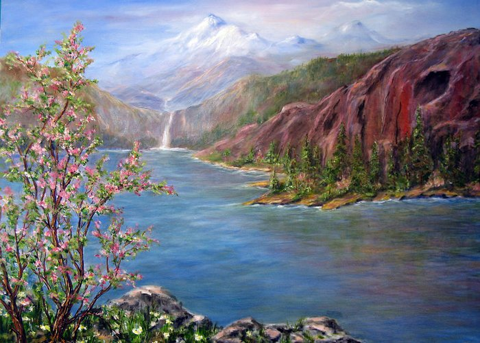 Snow Capped Mountains Greeting Card featuring the painting Spring on Glacier Lake by Thomas Restifo
