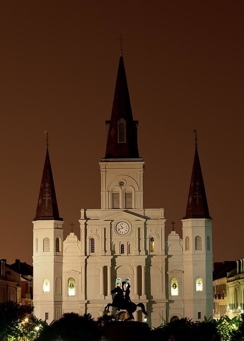 Louisiana Greeting Card featuring the photograph St Louis Cathedral At Night by Susie Hoffpauir