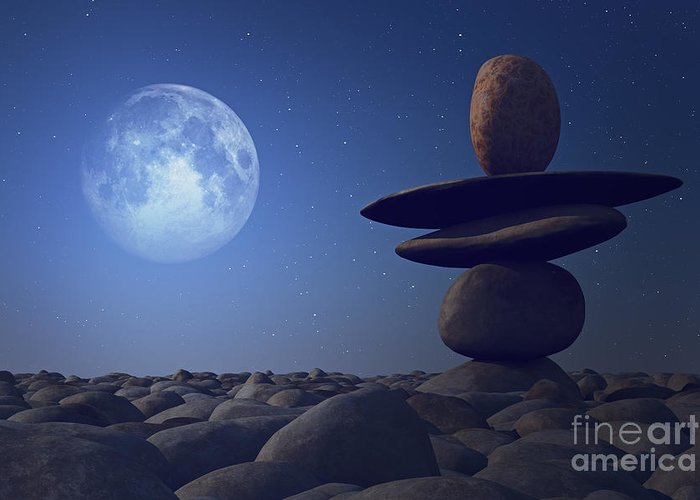 Stones Greeting Card featuring the photograph Stacked Stones In Moonlight by Aleksey Tugolukov