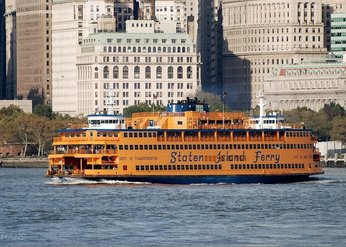 Harbor Greeting Card featuring the photograph Staten Island Ferry by Rob Hans