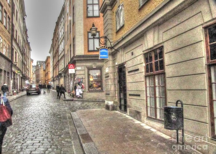 Stokholm Greeting Card featuring the pyrography Stokholm Swiss by Yury Bashkin