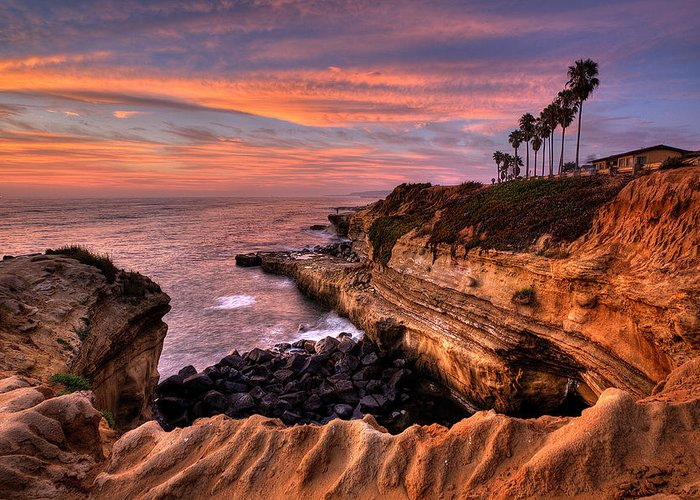 Beach Greeting Card featuring the photograph Sunset Cliffs by Peter Tellone