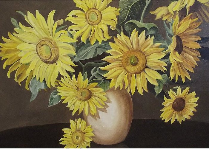 Flowers Greeting Card featuring the painting Sunshine And Sunflowers by Wanda Dansereau