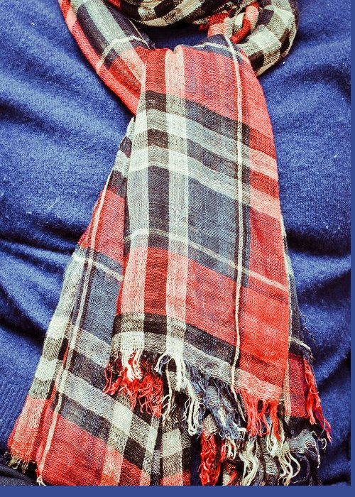 Background Greeting Card featuring the photograph Tartan Scarf by Tom Gowanlock