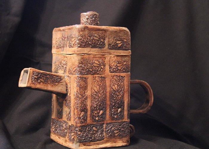 Ceramics Greeting Card featuring the ceramic art Teapot by Ghazel Rashid