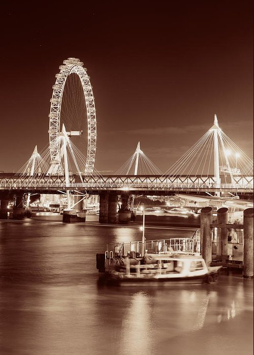 London Greeting Card featuring the photograph Thames River Night View by Songquan Deng