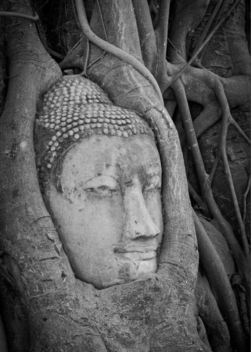 Ancient Greeting Card featuring the sculpture The Ancient City Of Ayutthaya by Thosaporn Wintachai