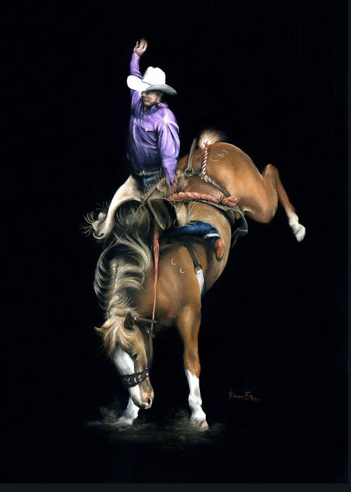 Rodeo Greeting Card featuring the pastel The Bronc by Karen Elkan