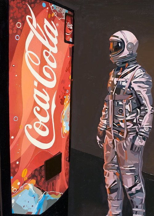 Astronaut Greeting Card featuring the painting The Coke Machine by Scott Listfield