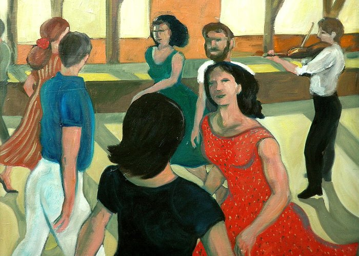 Dance Greeting Card featuring the painting The Fiddler by Laura Lee Cundiff