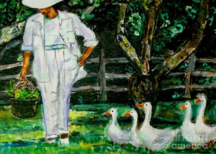 Acrylic Greeting Card featuring the painting The Five Ducks by Helena Bebirian