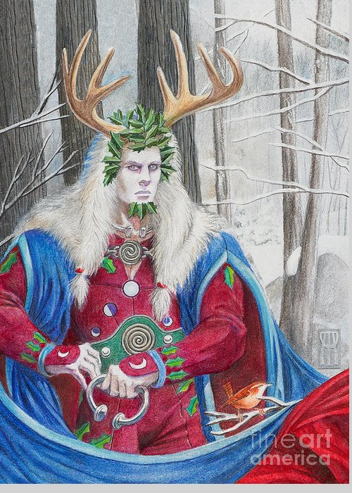 Pagan Greeting Card featuring the painting The Holly King by Melissa A Benson