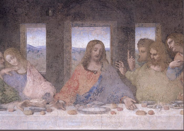 Leonardo Greeting Card featuring the painting The Last Supper by Leonardo Da Vinci